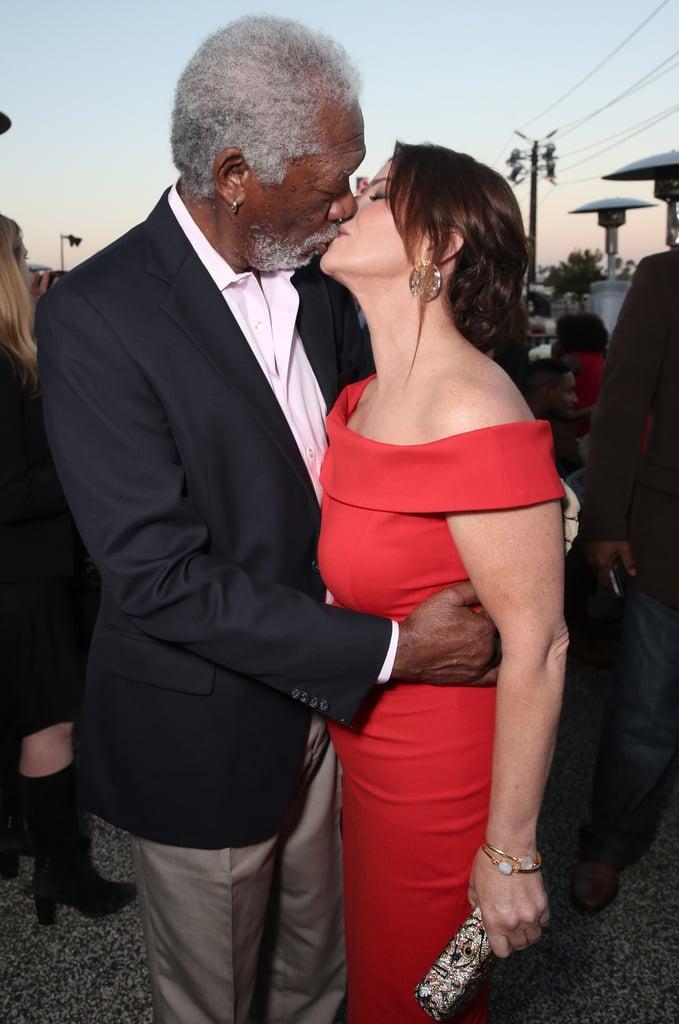 Morgan Freeman and Marcia Gay Harden Kissing at CBS Party