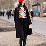 Liven Up Your Basic Black Boots With Lace-Up Pants and a Red Beret