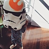 The couple's son, Rocky, took his turn with the Stormtrooper helmet in April 2015.