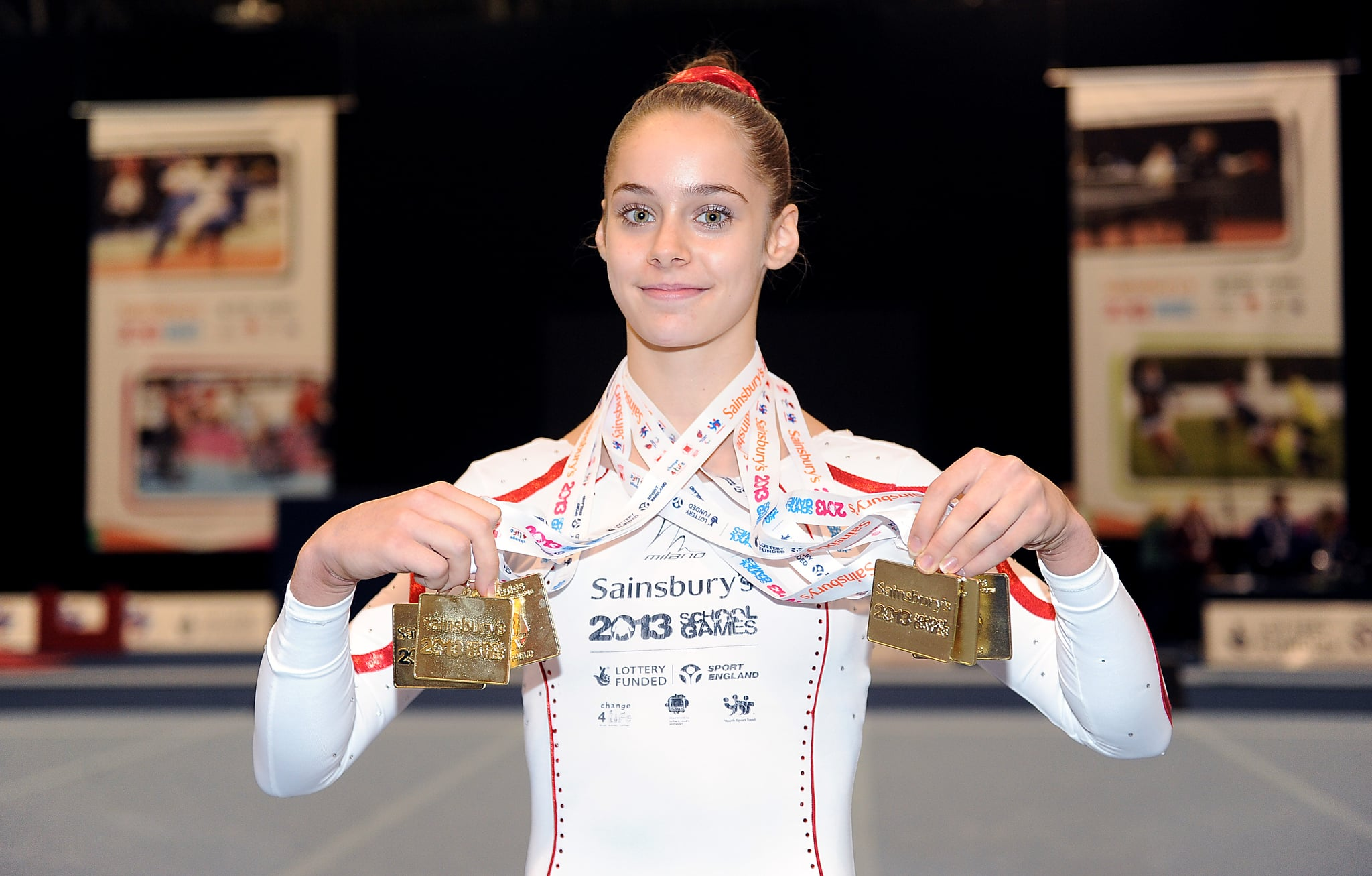 England's Catherine Lyons with her medals from the Gymnastics during day Four of the Sainsbury's 2013 School Games at iceSheffield, Sheffield. PRESS ASSOCIATION Photo. Picture date: Sunday September 15, 2013. Photo credit should read: Nigel French/PA Wire   (Photo by Nigel French/PA Images via Getty Images)