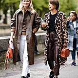Style Your Leopard-Print Coat With: A Black Top, Brown Pants, Tan Bag, and Loafers