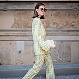 Style a Bright Pink Pair With a Yellow Plaid Suit