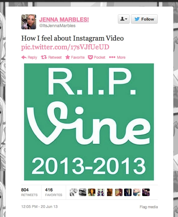 YouTube star @ItsJennaMarbles is putting down Vine for good.