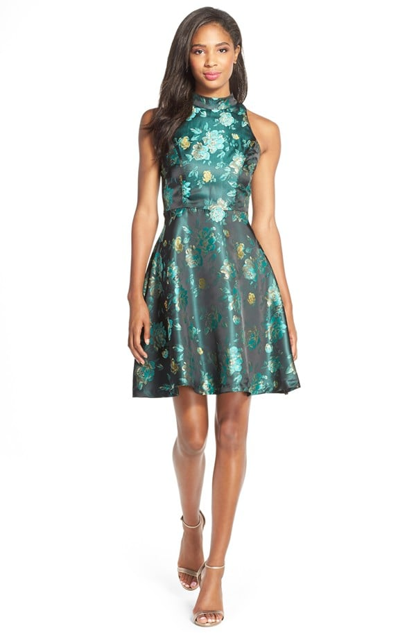 b242994013 KUT from the Kloth Mock Neck Floral Jacquard Fit   Flare Dress ...