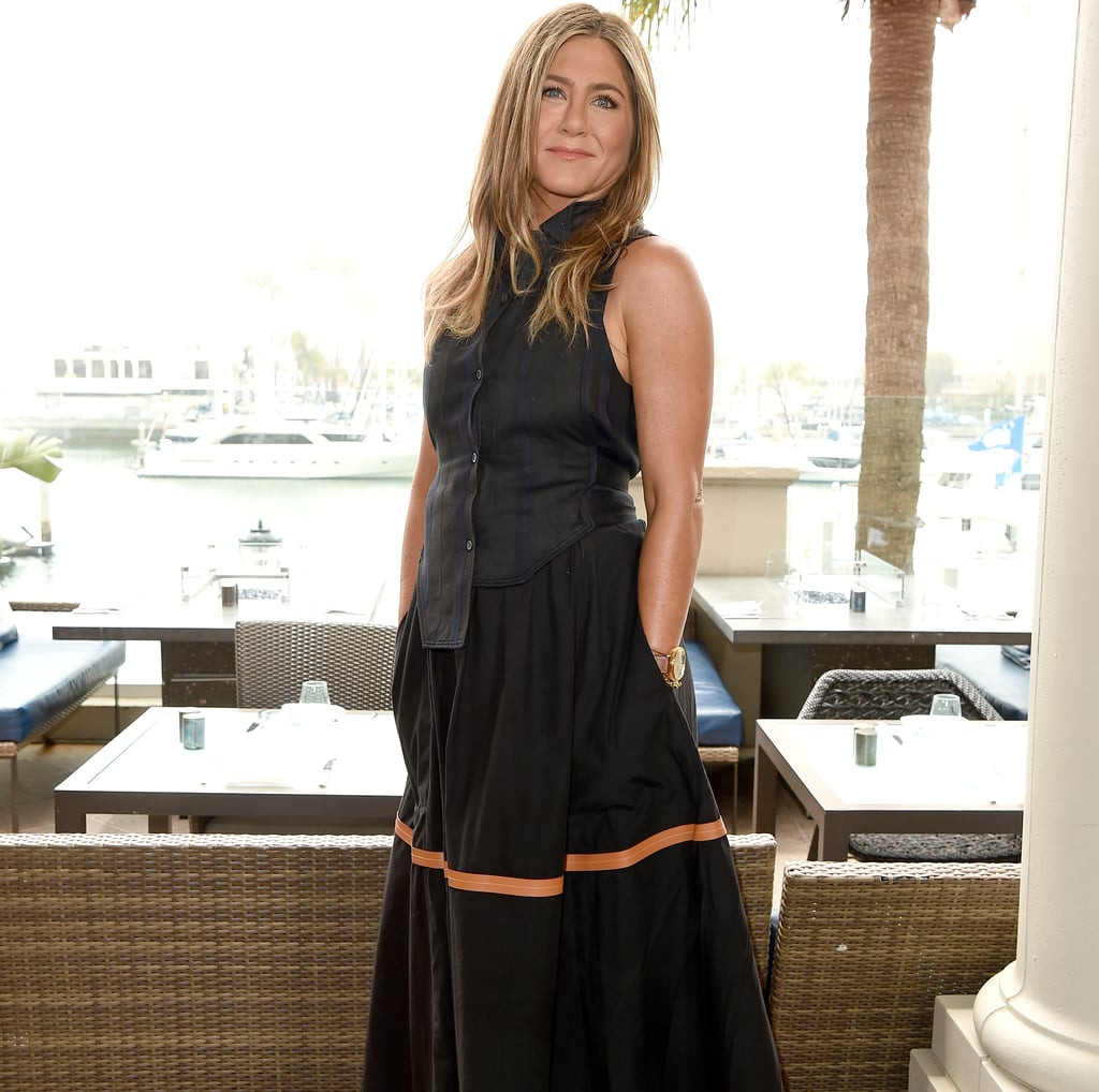 47e26d5bcf9a Jennifer Aniston Black Maxi Skirt With Stripe | POPSUGAR Fashion