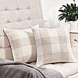 Beige and White Buffalo Check Plaid Throw Pillow Covers