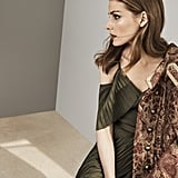 Banana Republic x Olivia Palermo Pleated Maxi Dress With Ties ($148) and Brocade Button Detail Military Coat ($348)