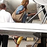 Jennifer Aniston Jets Off With Justin, George, and Stacy