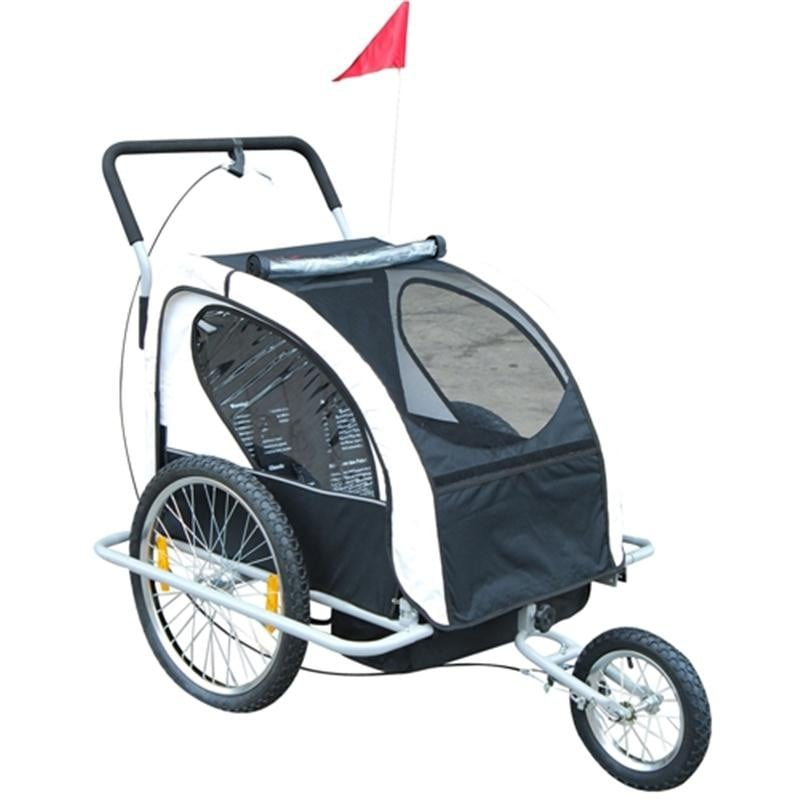 Aosom 2in1 Double Child Baby Bike Trailer and Stroller