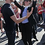 Anne Hathaway spent her Valentine's Day at a One Billion Rising event in Hollywood with husband Adam Shulman.