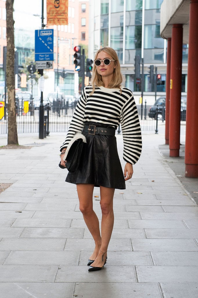 Pernille Teisbaek had fun with proportions with a billowy-sleeved striped top and a cinched waist.