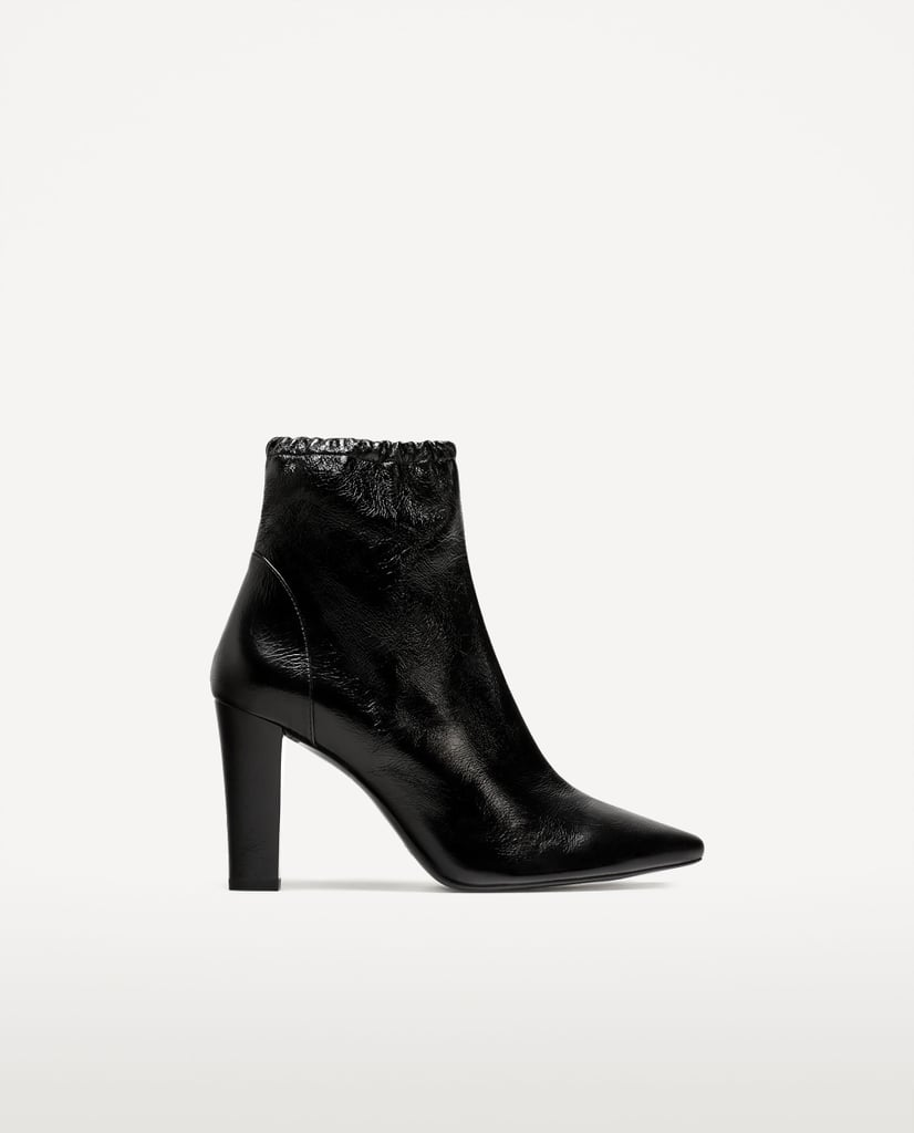 High Heel Pointed Leather Ankle Boots (£70)