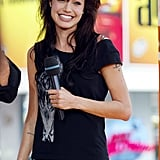 Angelina Jolie flashed a big smile during her TRL appearance in 2003.