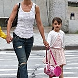 Katie Holmes and Suri Cruise walked to Chelsea Piers on Friday.