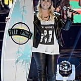 Demi Lovato accepted an award at the Teen Choice Awards.