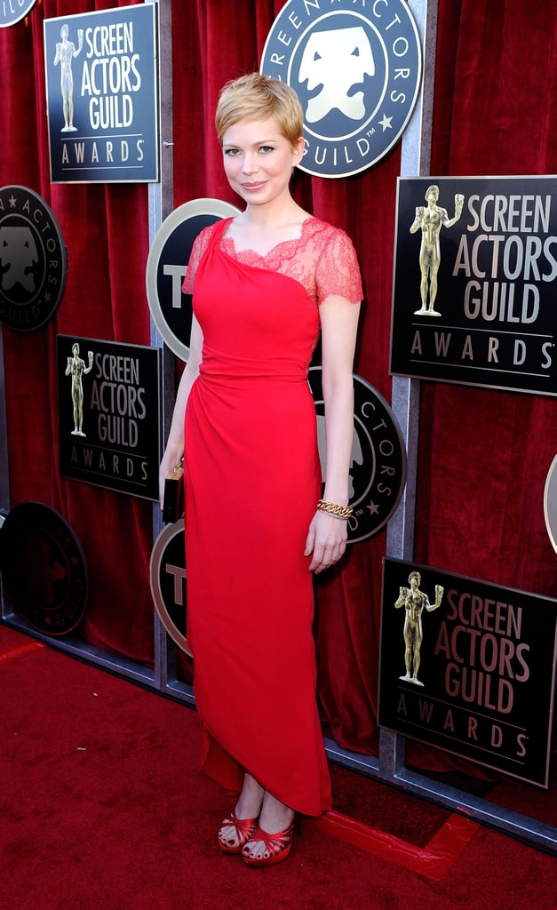 Michelle Williams in a red Valentino gown at the SAGs.