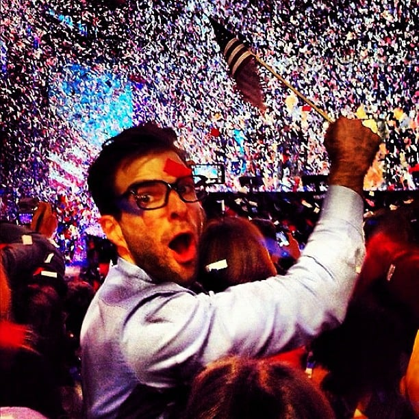 Zachary Quinto got in on the celebrating the election results in November.  Source: Instagram user ersatzach
