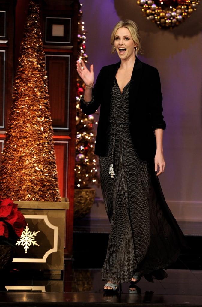 One way to dress up a maxidress? Top it off with a blazer á la Charlize's Dior dress and blazer combo.