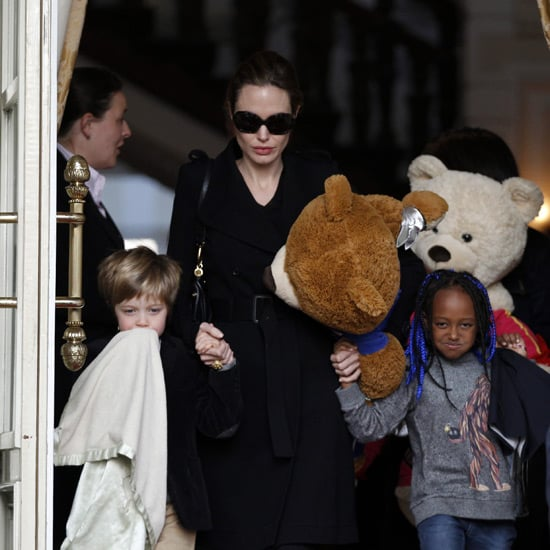 Angelina Jolie Pictures With Shiloh and Zahara in Amsterdam and LA With Huge Bear Toys