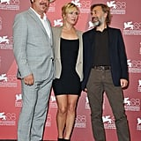 John C. Reilly, Kate Winslet, and Christoph Waltz were together Thursday for Carnage.