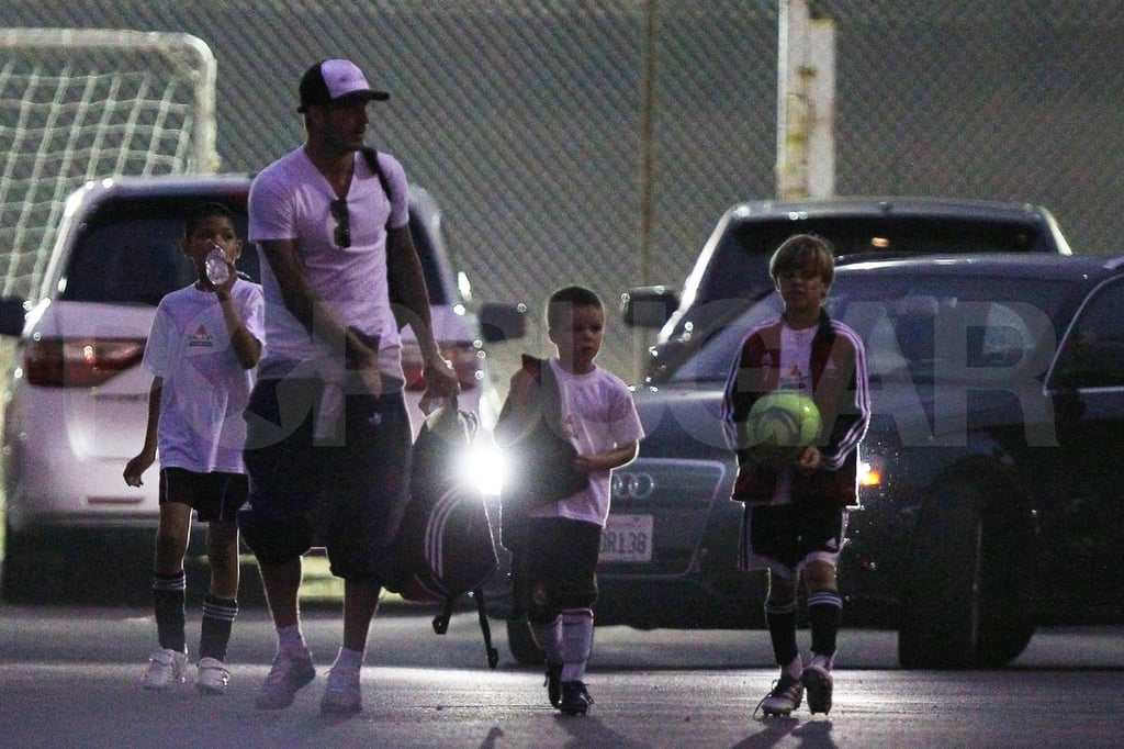 David Beckham takes sons, Cruz Beckham and Romeo Beckham, to practice.