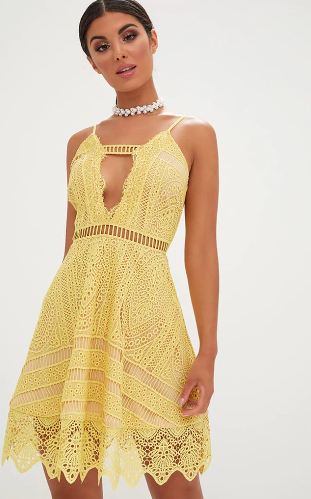 9c72b6861d Yellow Crochet Lace Plunge Strappy Skater Dress
