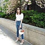 White Puffy Sleeved Shirt, Jeans, and White Sandals