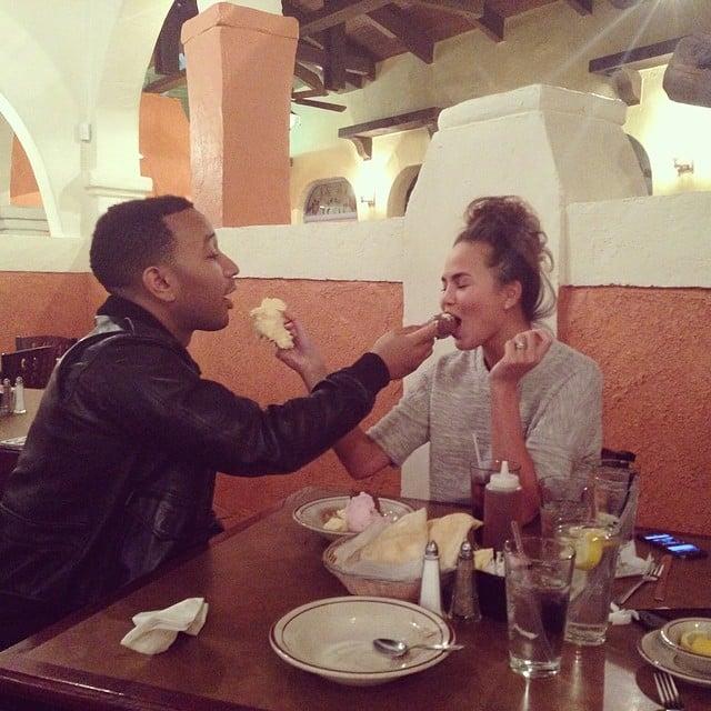 Chrissy Teigen and her husband, John Legend, fed each other. Source: Instagram user chrissyteigen