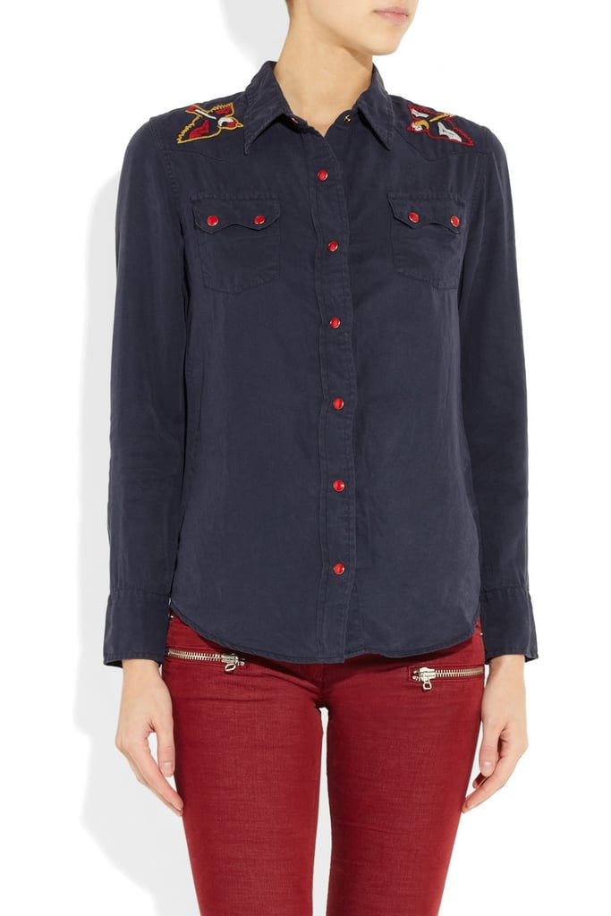 We can't get enough of the retro-inspired, bird-embroidered shoulders. It feels like it would fit right into an old Western movie. Levi's Made & Crafted Sawtooth Embroidered Brushed-Twill Shirt ($200)