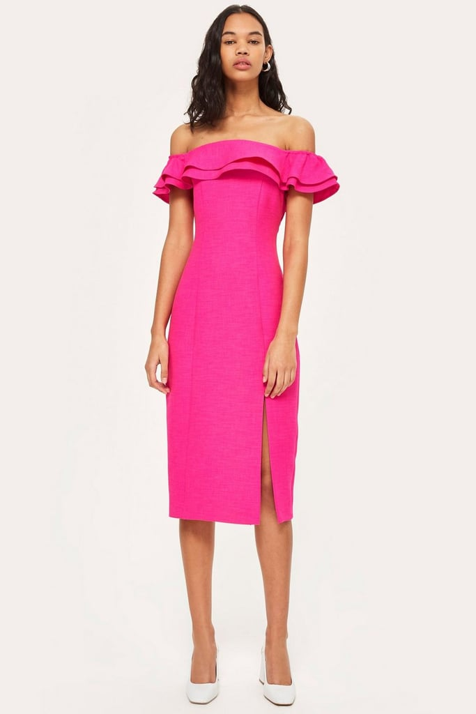 Topshop Ruffle Bardot Midi Dress