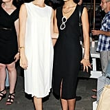 Jessica Jones and Alessandra Dean dressed in complementary black and white sheaths at New York's Soho Grand.