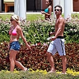 Britney and Jason enjoyed the scenery while in Hawaii in August 2010.