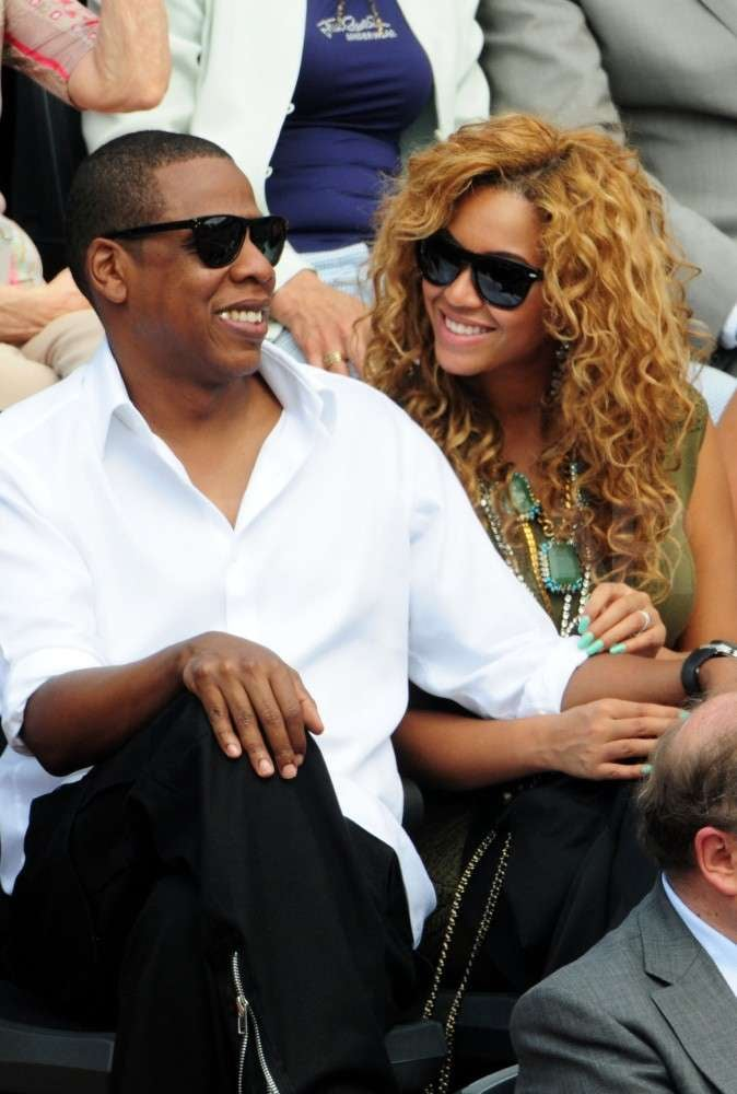 Tennis fans Jay Z and Beyoncé attended the June 2010 French Open at Roland Garros tennis stadium in Paris, France.