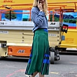 Zanna Roberts Rassi inspired us with a soft button-down, a colorblock skirt, and chic cage heels.
