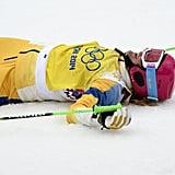 Bronze medallist Anna Holmlund of Sweden celebrated at the women's freestyle skiing ski cross finals.