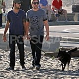 Javier Bardem Strolls the Beach With Penelope Cruz's Brother