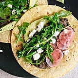 Vegetarian: Arugula and Black Bean Tacos With Pickled Radish and Feta