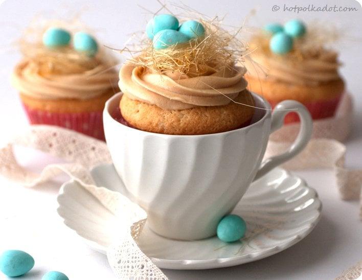 Caramel Bird's Nest Cupcakes