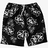 KingSize Black Hibiscus Basic Swim Trunks