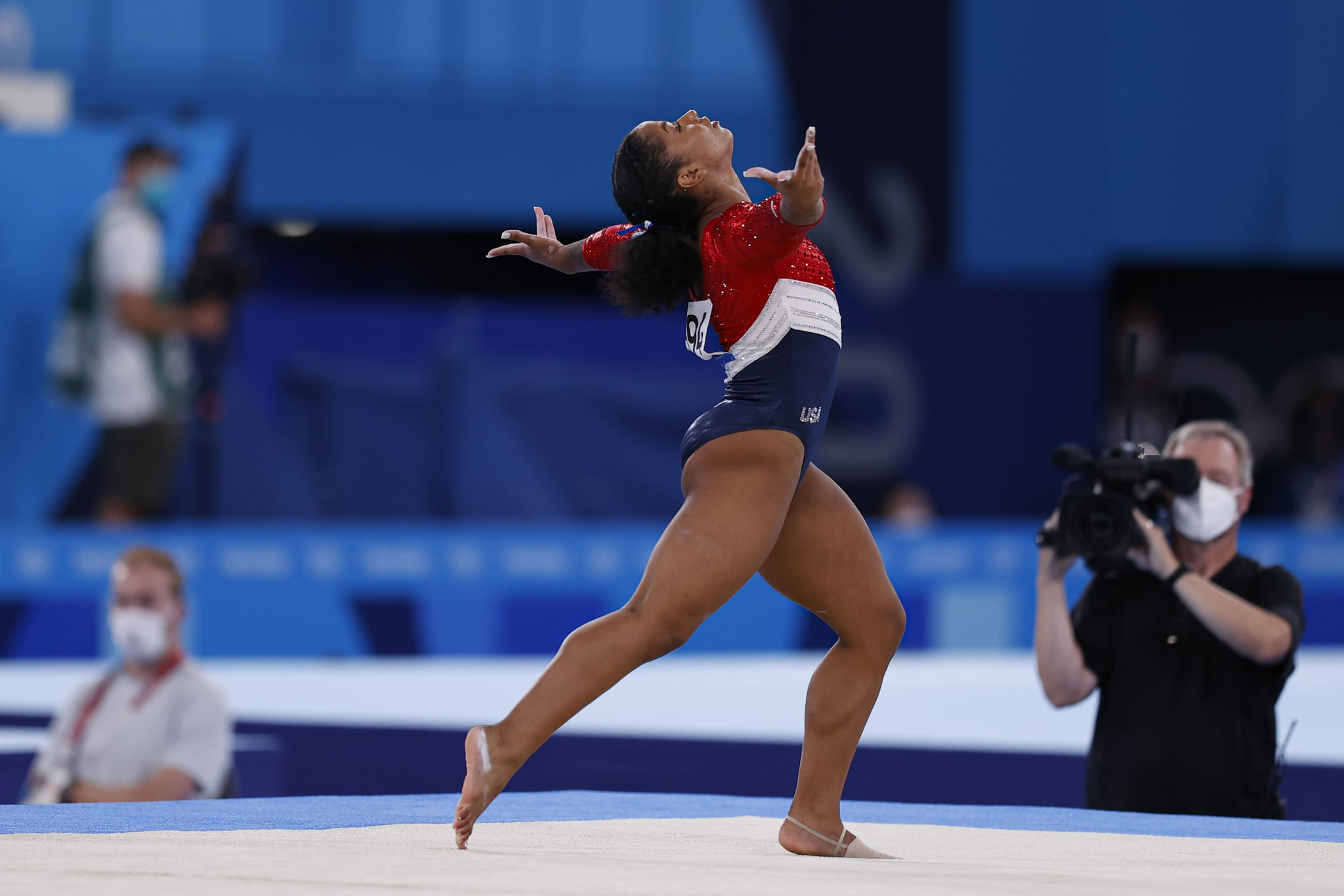 TOKYO, JAPAN - JULY 27: Jordan Chiles of Team United States competes in the floor exercise during the Women's Team Final on day four of the Tokyo 2020 Olympic Games at Ariake Gymnastics Centre on July 27, 2021 in Tokyo, Japan. (Photo by Fred Lee/Getty Images)