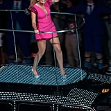 Emma Bunton wore a pink Maggie Cooke dress with sequined shoulders and Gina shoes.