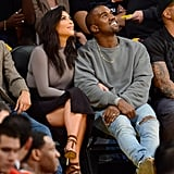 Kanye and Kim Have Their Casual Courtside Look Down Pat