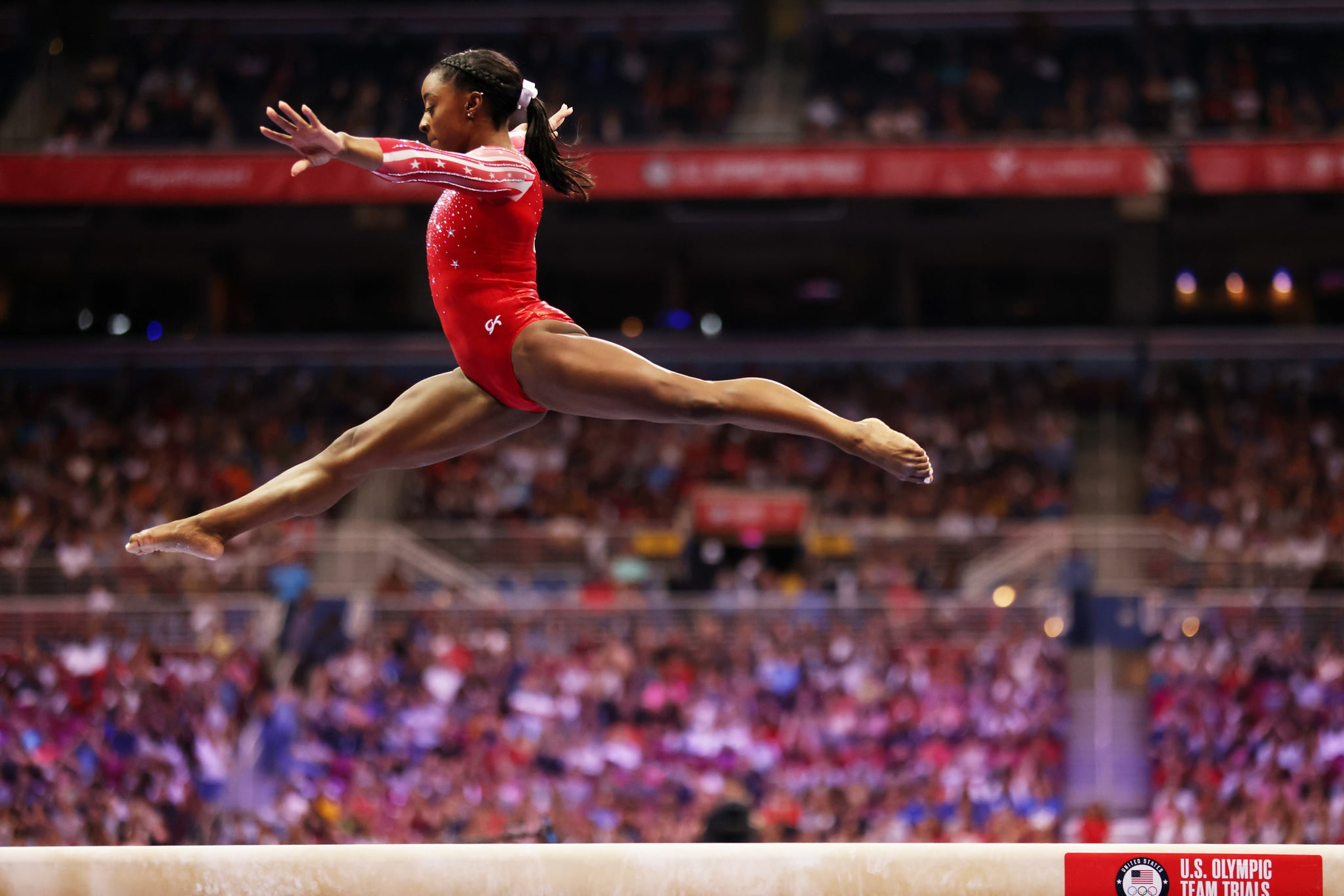 ST LOUIS, MISSOURI - JUNE 27: Simone Biles competes on the balance beam during the Women's competition of the 2021 U.S. Gymnastics Olympic Trials at America's Centre on June 27, 2021 in St Louis, Missouri. (Photo by Jamie Squire/Getty Images)