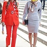 Anna Dello Russo and Giovanna Battaglia made the coolest kind of fashion duo, both with mirrored shades.
