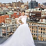 Her Long-Sleeved Dress Featured a Tulle Train