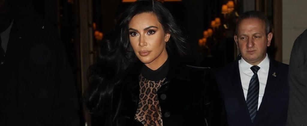 Kim Kardashian Sheer Leopard Outfit in Paris 2019