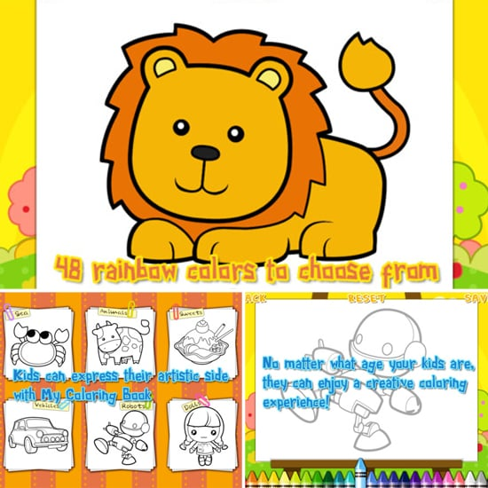 The Coloring Book app allows for both one-touch, auto-fill coloring ...