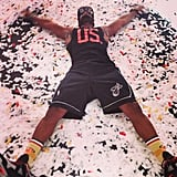 Dwyane Wade celebrated the Miami Heat's NBA Championship win with a confetti angel. Source: Instagram user dwyanewade