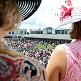 Fans looked down at spectators as they gathered in the paddock area at the 2011 race.