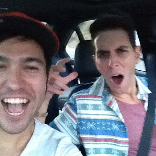 Pete Wentz and Gabriel Saporta rocked out in the car. Source: Instagram user petewentz